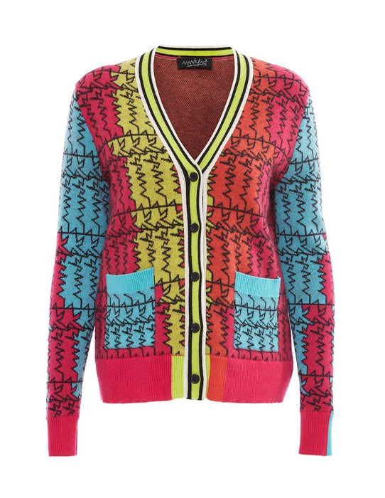 MARK FAST Women Wool Blend Color Block Logo Pattern Cardigan