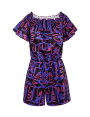 MARK FAST Women MF Graffiti Pattern Off-Shoulder Rompers