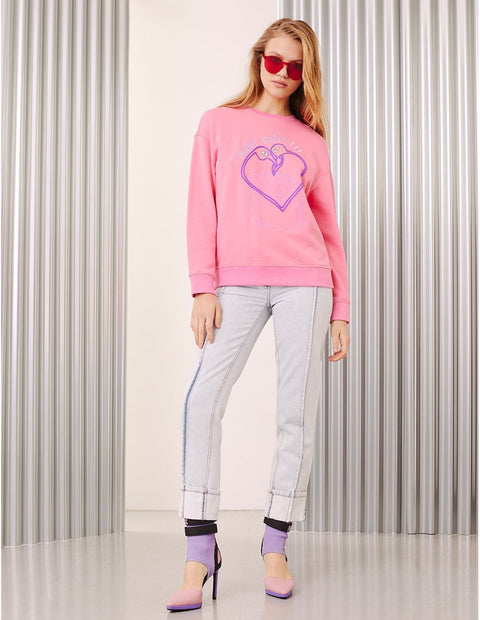 MARK FAST Women MF Passion Flamingo Crew Neck Long Sleeve Sweatshirt