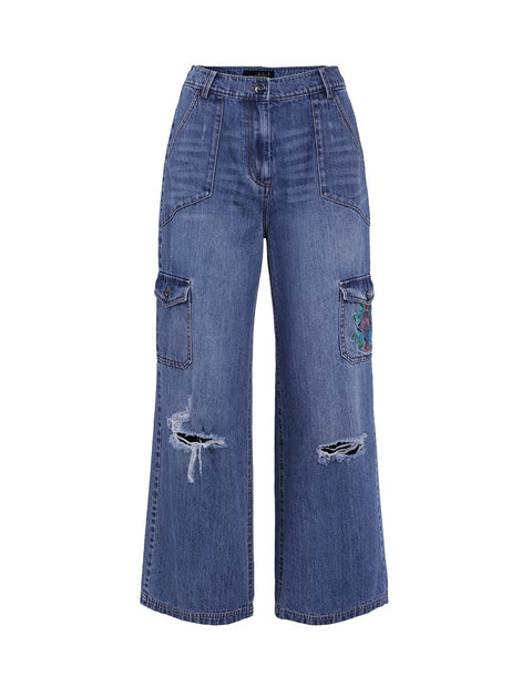 MARK FAST Women Embroidered Patch Pocket Wide Leg Ripped Jeans