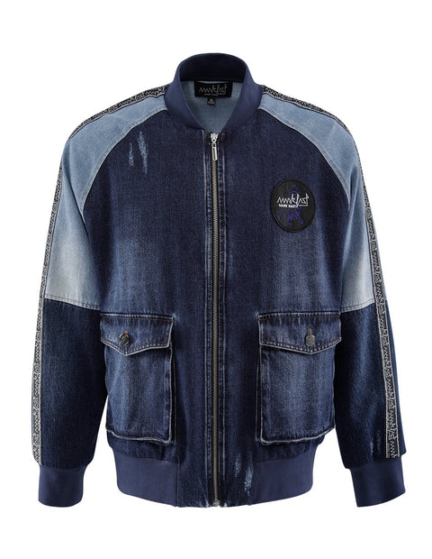 MARK FAST Men Washed Denim Contrast Color Jean Jacket