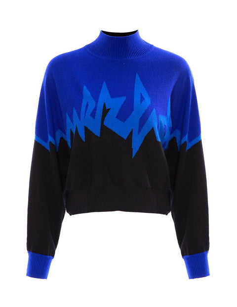 MARK FAST Women MF Logo Contrast Color High Neck Long Sleeve Sweater