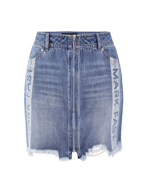 MARK FAST Women Zip-Up Raw Edge Ripped Denim Skirt