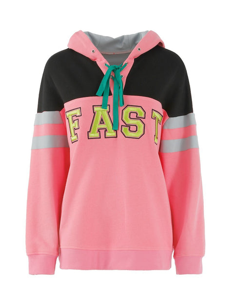 MARK FAST Women MF Logo Contrast Color Hoodie Sweatshirt