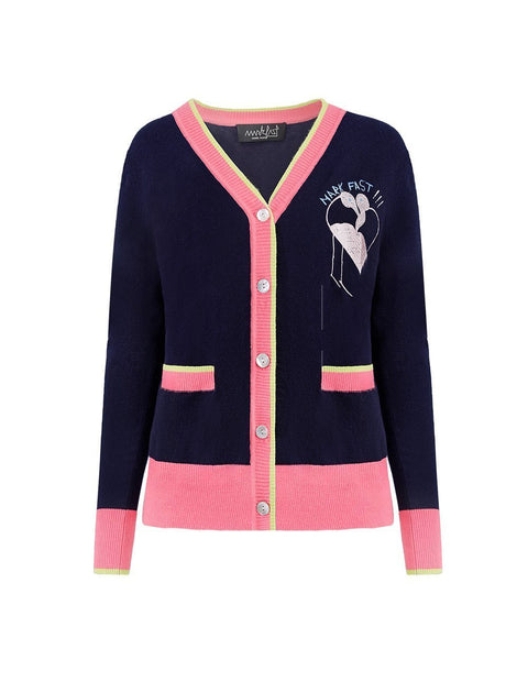 MARK FAST Women MF Passion Flamingo Woolen Striped Contrast Cardigan