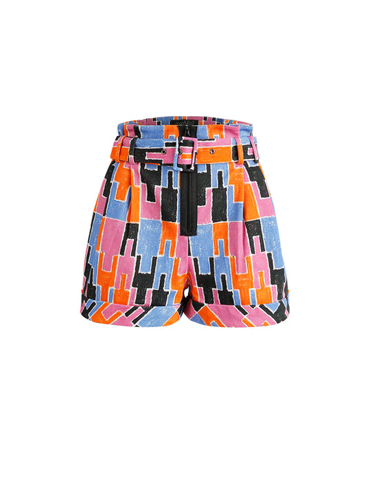MARK FAST WOMEN PLEATED BELTED SHORT WITH ORANGE RED NEON PUZZLE PATTERN