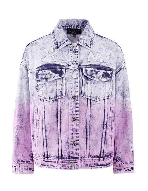 MARK FAST Women MF Passion Flamingo Contrast Color Washed Denim Jacket