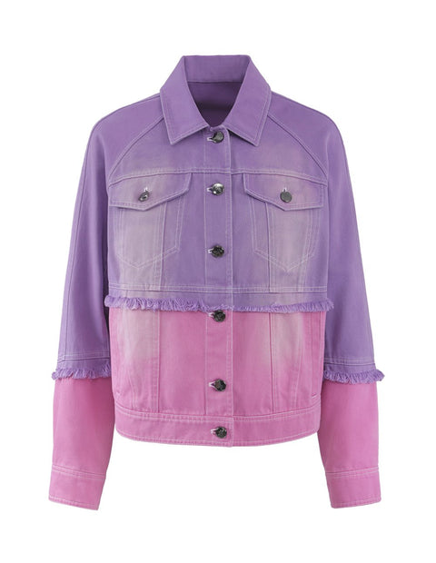 MARK FAST Women Contrast Color Button Up Washed Denim Jacket
