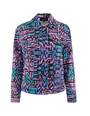 MARK FAST Women MF Psychedelic Graffiti Pattern Washed Denim Jacket