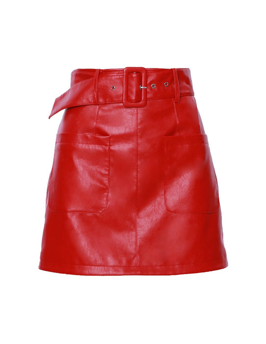 MARK FAST Women High Waist Belted Leather Mini Skirt