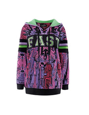 MARK FAST Women Hand-Draw Psychedelic Graffiti Pattern Hoodie Sweatshirt