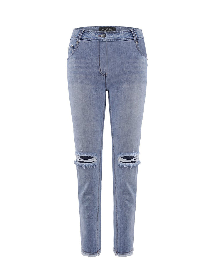MARK FAST Women Light Blue Washed Denim Vintage Ripped Hole Jeans
