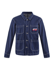MARK FAST Men Striped Pattern Mid-Washed Denim Jacket