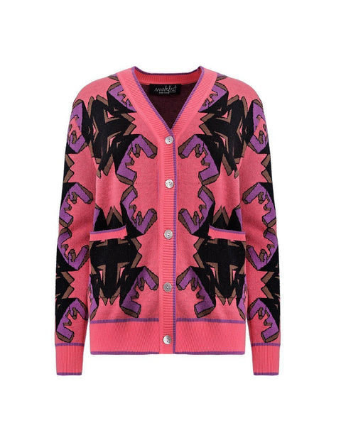 MARK FAST Women MF Logo Symmetric Pattern Woolen Button Up Cardigan