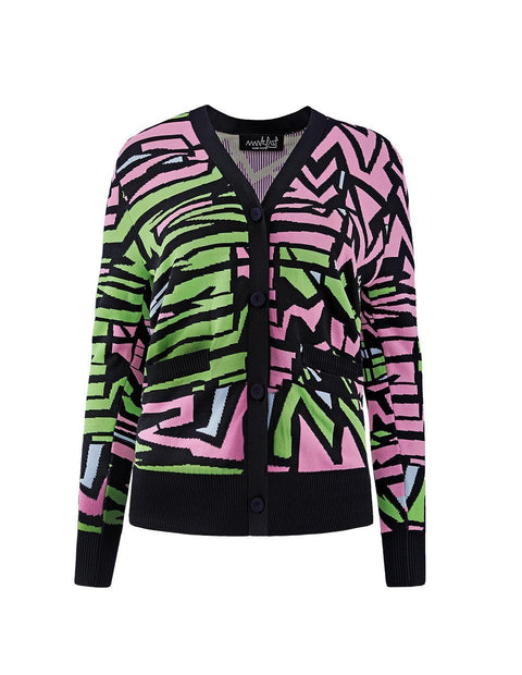 MARK FAST Women MF Psychedelic Graffiti Pattern Woolen Button Up Cardigan