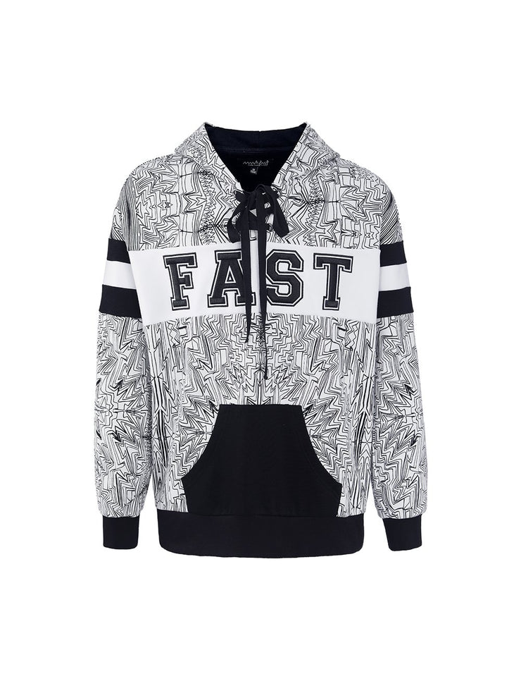 MARK FAST Men Hand-Draw Psychedelic Graffiti Pattern Hoodie Sweatshirt