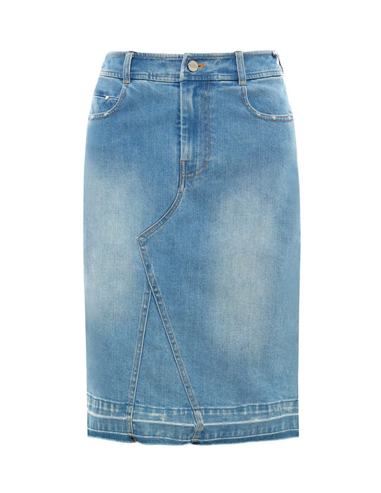 MARK FAST Women Washed Denim Slim Fit Pencil Jean Skirt