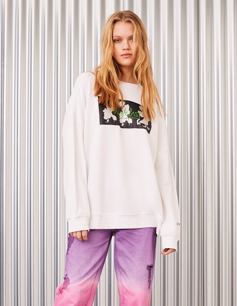 MARK FAST Women MF Dancing Floral Monster Metallic Printed Sweatshirt