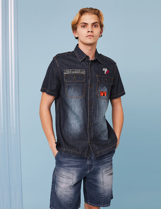 MARK FAST Men MF Logo Embroidery Washed Denim Short Sleeve Shirt
