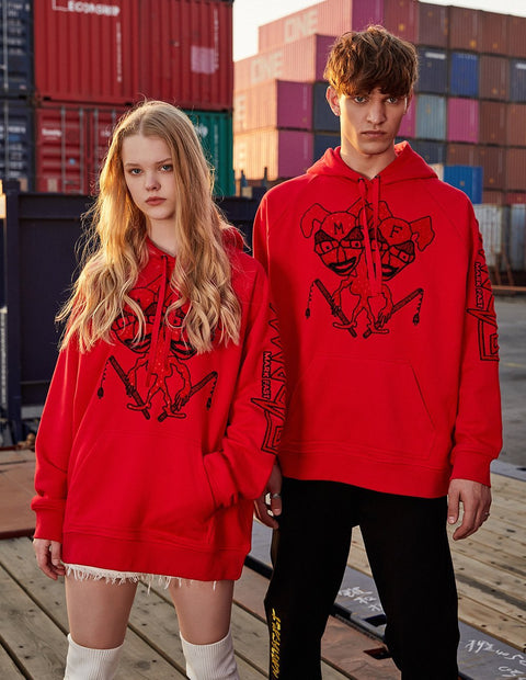 MARK FAST Unisex Double - Headed Monster Logo Long Sleeve Hoodie