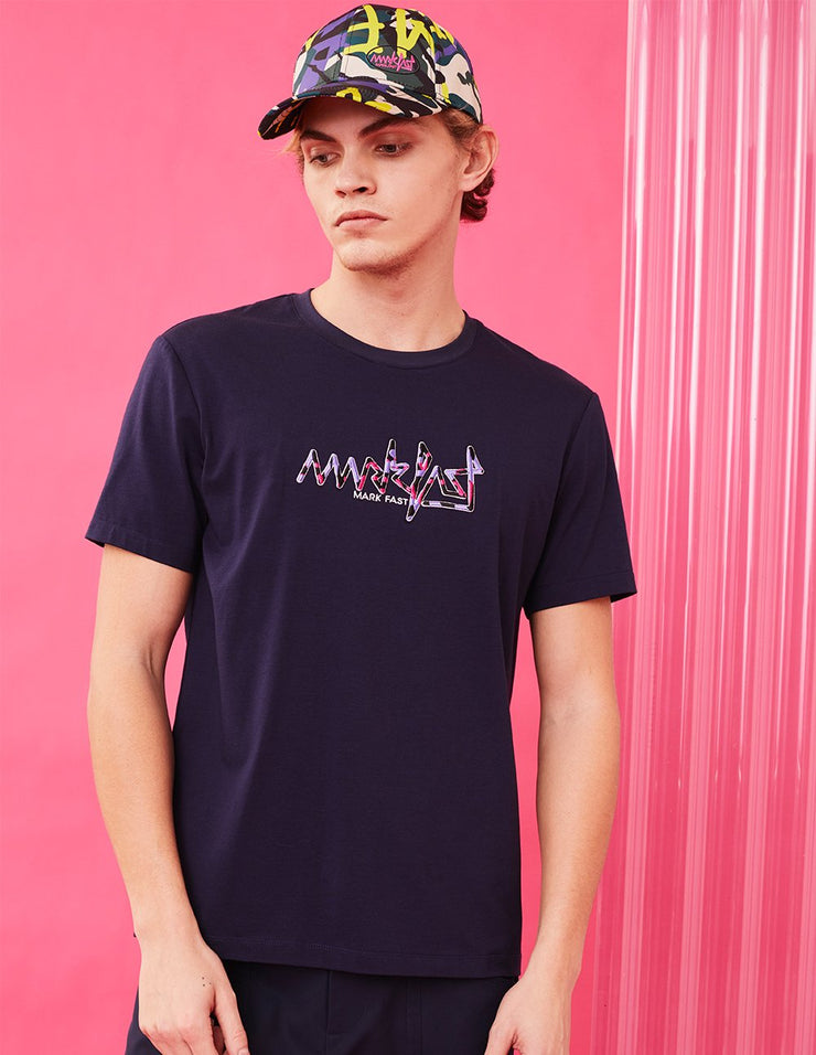 MARK FAST Men Embroidered Logo Crew Neck Short Sleeve T-shirt