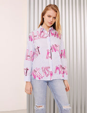 MARK FAST Women MF Monogram Print Cotton Pin Striped Pattern Shirt