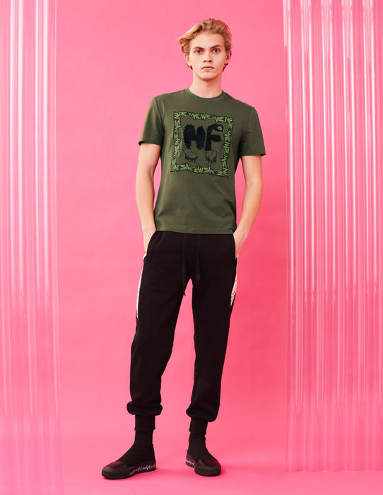 MARK FAST MEN BASIC FIT DARK OLIVE GREEN T-SHIRT WITH EMBROIDERY