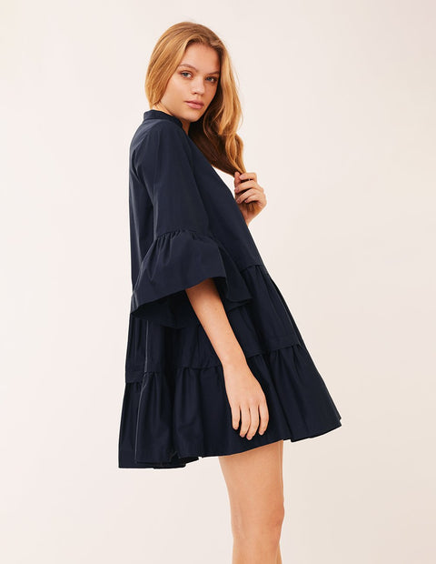MARK FAST Women Lantern Sleeve Ruffle Layer Oversize Mini Dress