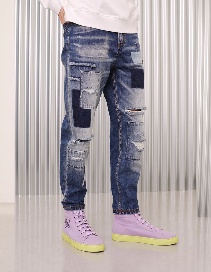 MARK FAST Men Washed Denim Irregular Color Patch Ripped Hole Jeans