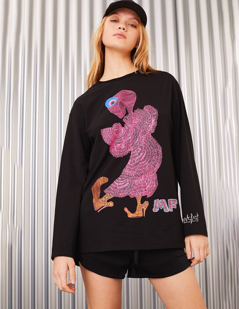 MARK FAST Women MF Dancing Floral Monster Crew Neck Long Sleeve T-Shirt