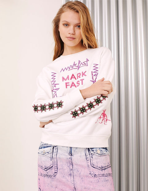 MARK FAST Women Embroidered Logo Monster Long Sleeve Sweatshirt