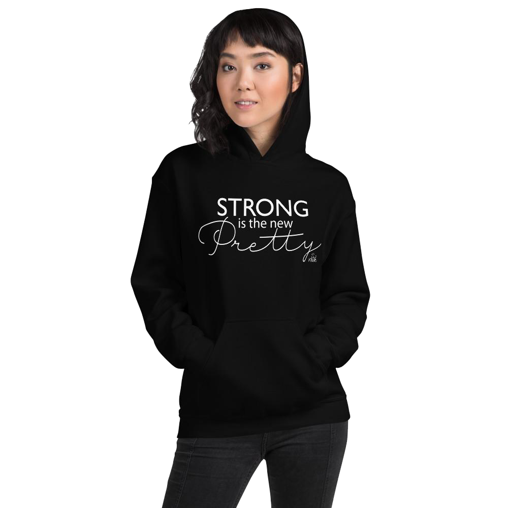 Asian woman wearing empowerment positive slogan hoodie