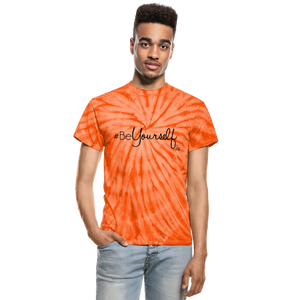 #BeYourself Unisex Tie Dye T-Shirt - spider orange