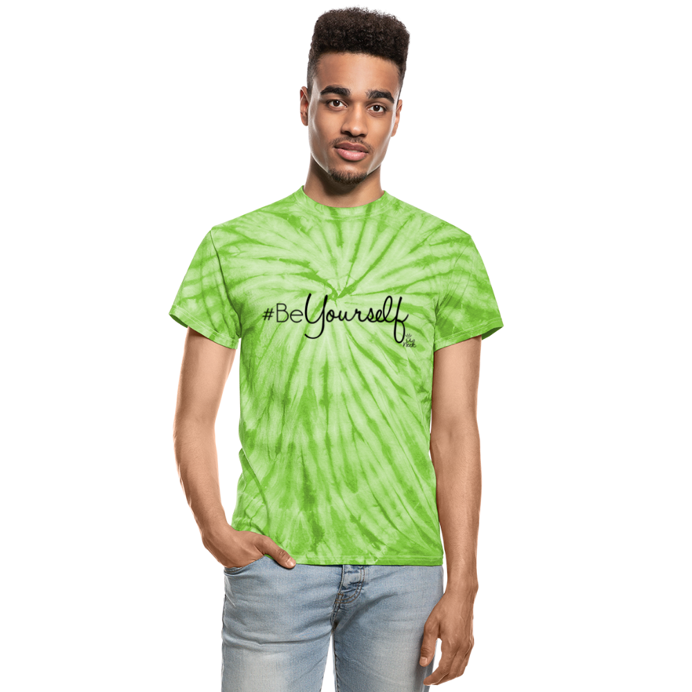 #BeYourself Unisex Tie Dye T-Shirt - spider lime green
