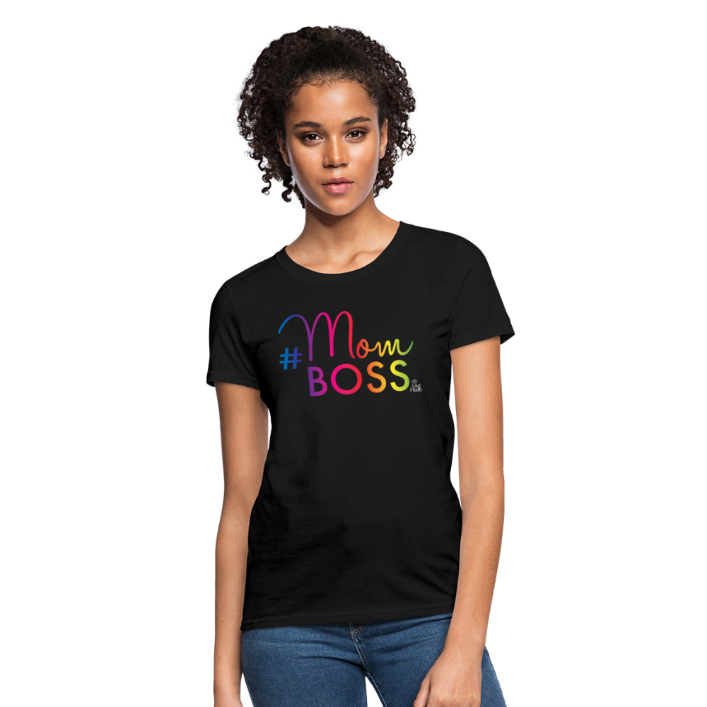 #MomBoss Colour Logo Women's T-Shirt - black