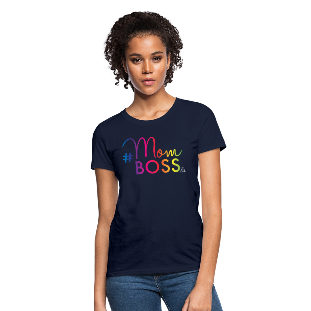 #MomBoss Colour Logo Women's T-Shirt - navy