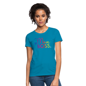 #MomBoss Colour Logo Women's T-Shirt - turquoise
