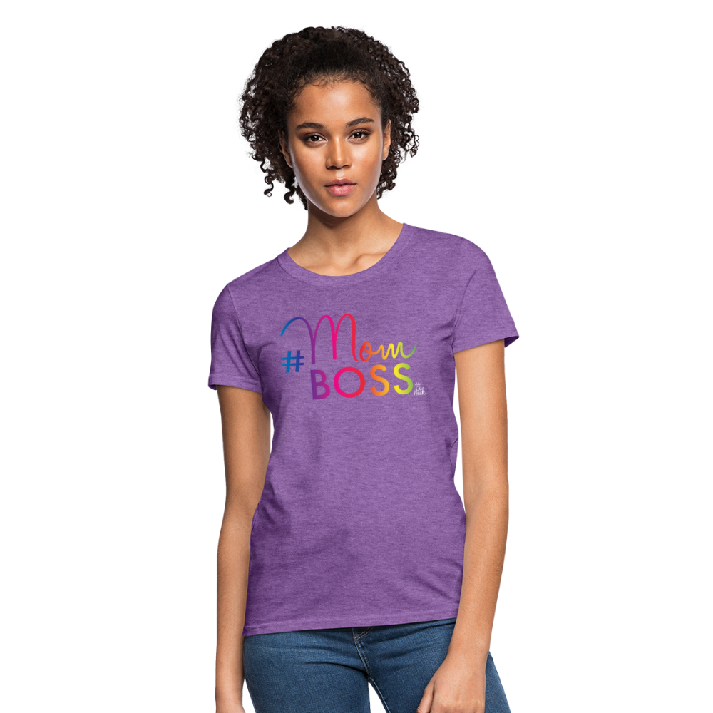 #MomBoss Colour Logo Women's T-Shirt - purple heather
