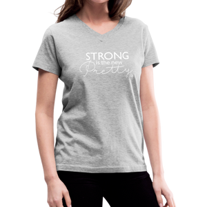 Strong is the New Pretty Women's V-Neck T-Shirt - gray
