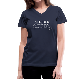 Strong is the New Pretty Women's V-Neck T-Shirt - navy
