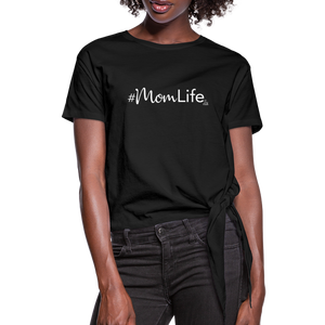 #MomLife Women's Knotted T-Shirt - black