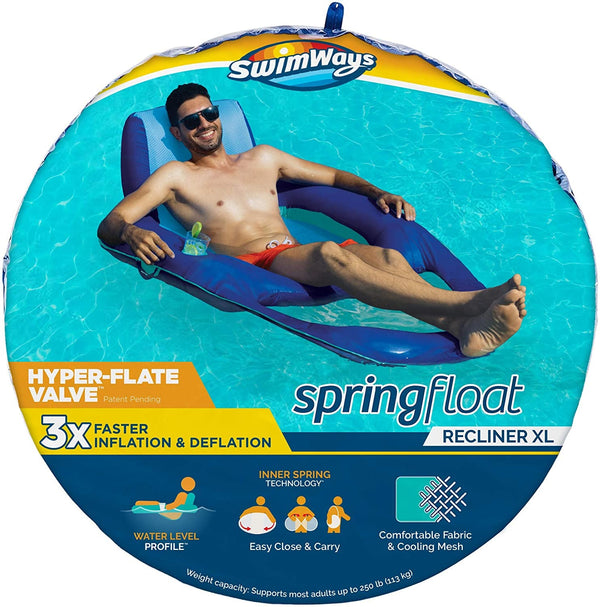SwimWays Spring Float XL Recliner Pool Lounge Chair with Hyper-Flate Valve, Blue