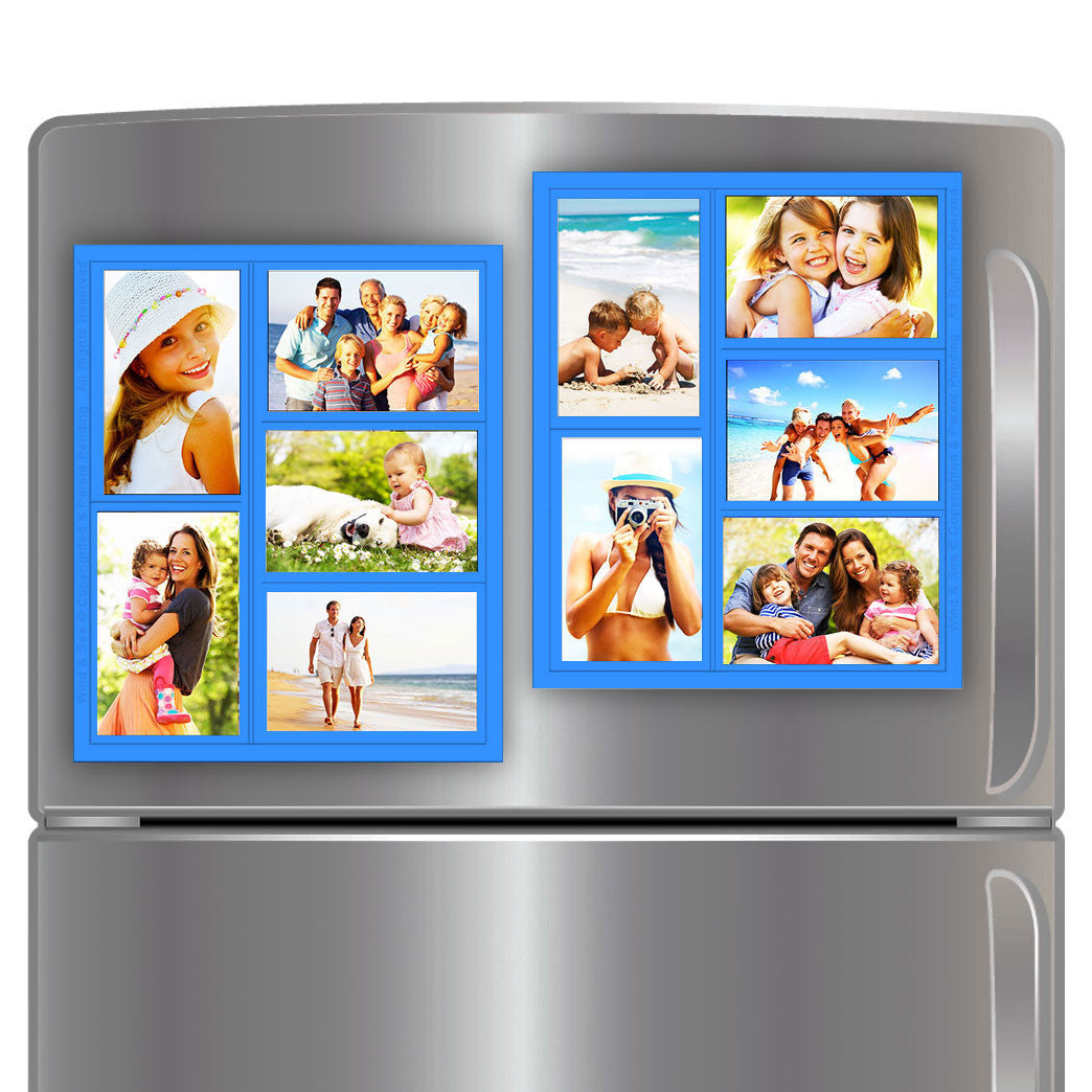 "Wind & Sea™ - Magnetic Picture Frame Collage For Refrigerator - ""Blue"" Holds 10 - 4x6 Photos - Instantly Organizes Your Fridge For That Model Home Look - ""Slam-Proof"" Flexible Magnet Design"