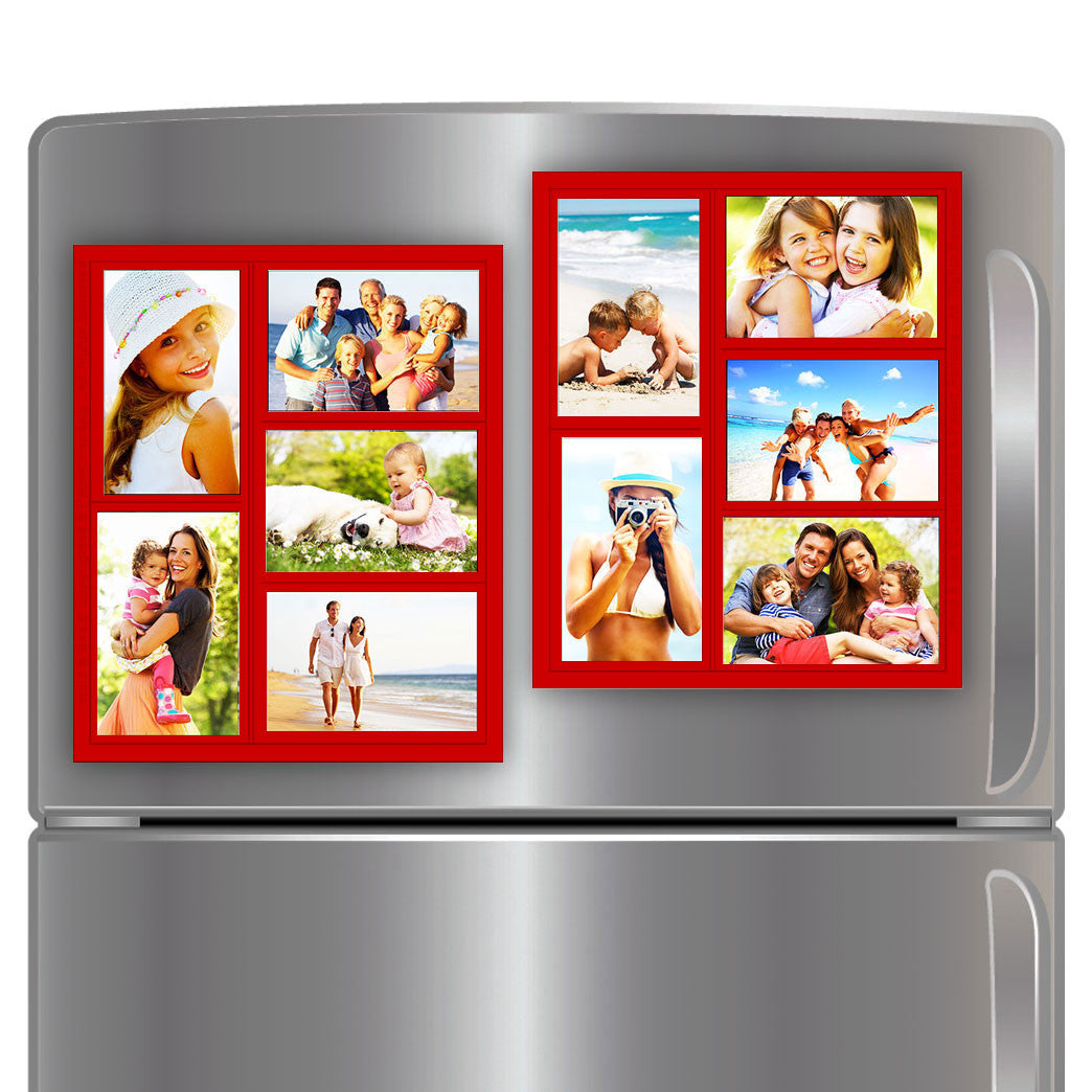 "Wind & Sea® - Magnetic Picture Frame Collage For Refrigerator - ""Red"" Holds 10 - 4x6 Photos - Instantly Organizes Your Fridge For That Model Home Look - ""Slam-Proof"" Flexible Magnet Design"