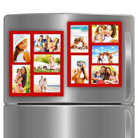 "Wind & Sea® - Magnetic Picture Frame Collage For Refrigerator - ""RED"" Holds 10 - 4x6 Photos - Instantly Organizes Your Fridge For That Model Home Look - ""Slam-Proof"" Flexible Magnet Design   PATENTED"