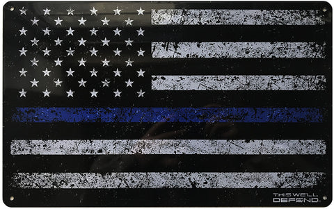 "Thin Blue Line American Flag Tin Sign 11"" x 16"""