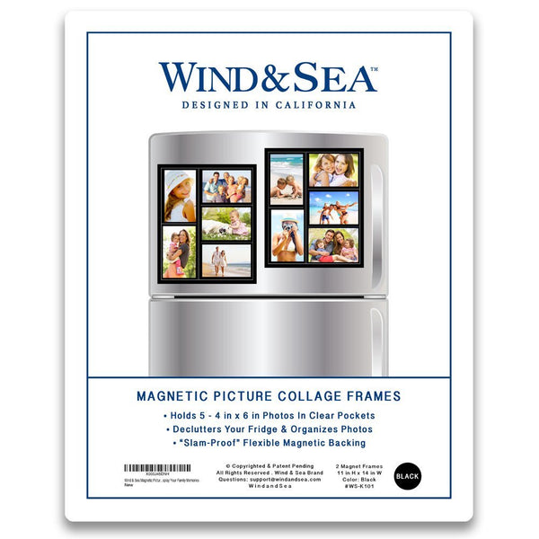 Wind Sea Magnetic Picture Frame Collage For Refrigerator Black