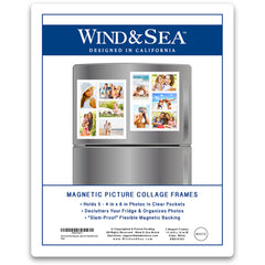 "Wind & Sea™ - Magnetic Picture Frame Collage For Refrigerator - ""White"" Holds 10 - 4x6 Photos - Instantly Organizes Your Fridge For That Model Home Look - ""Slam-Proof"" Flexible Magnet Design"
