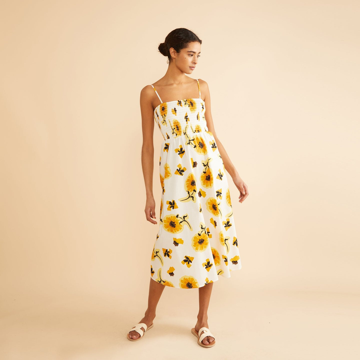 Sunflower Strappy Midi Dress
