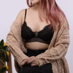 Load image into Gallery viewer, the sweet kisses padded bralette in black